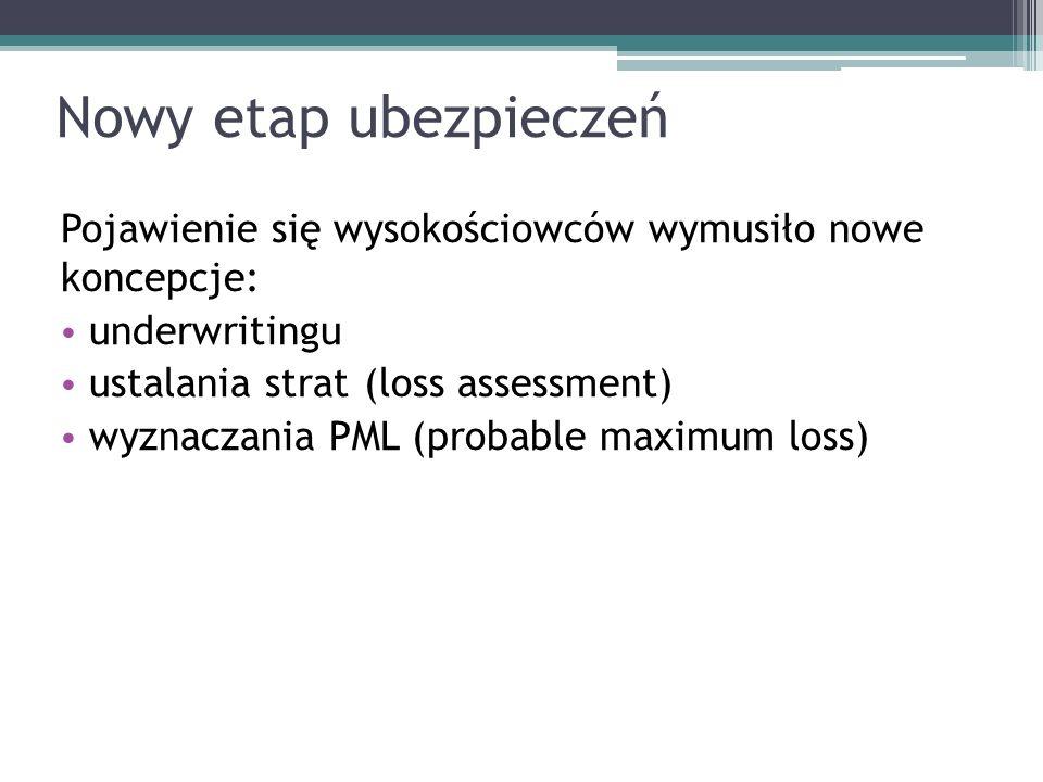 Nowy etap ubezpieczeń Pojawienie się wysokościowców wymusiło nowe koncepcje: underwritingu. ustalania strat (loss assessment)