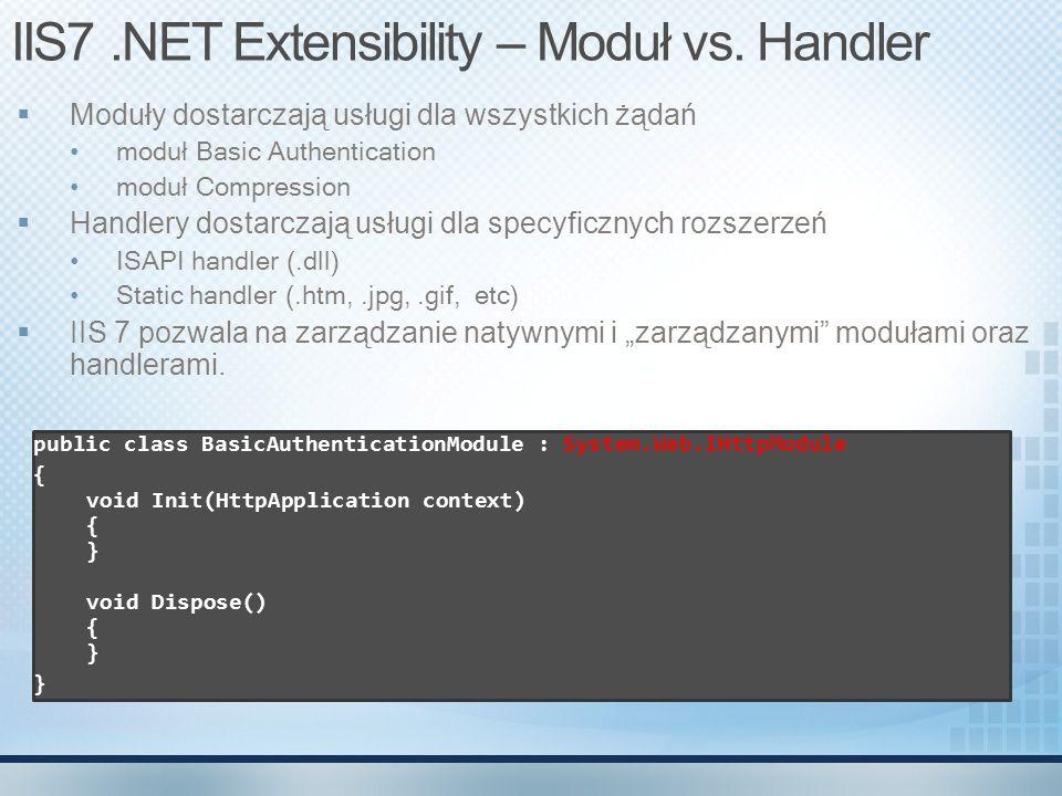 IIS7 .NET Extensibility – Moduł vs. Handler