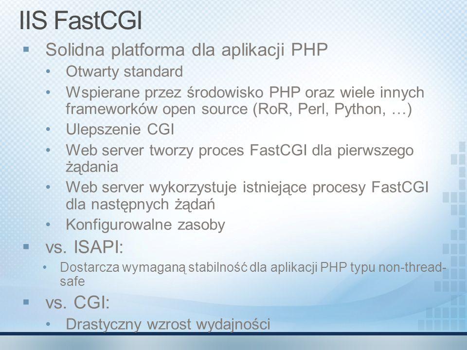 IIS FastCGI Solidna platforma dla aplikacji PHP vs. ISAPI: vs. CGI: