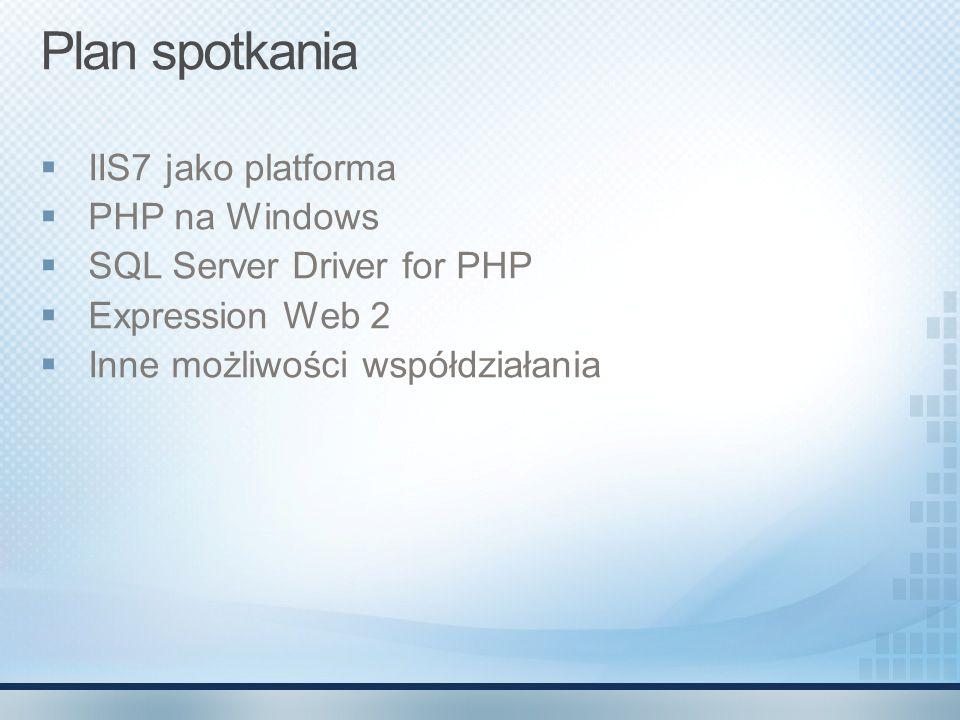 Plan spotkania IIS7 jako platforma PHP na Windows