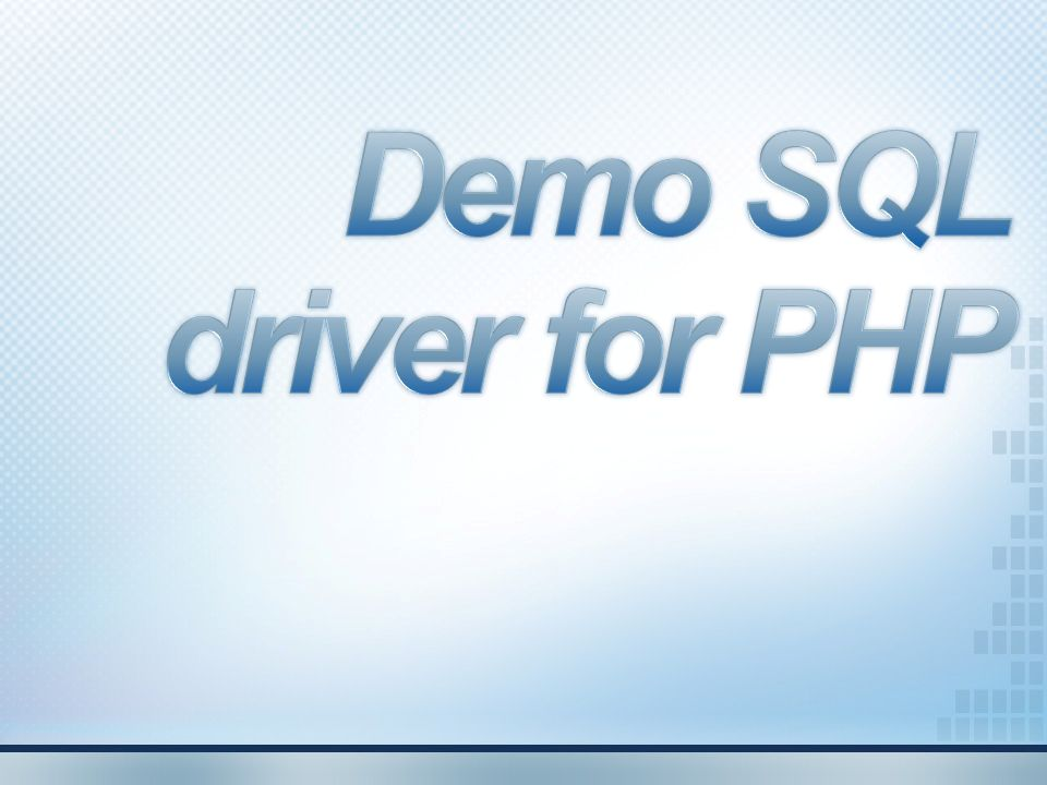 Demo SQL driver for PHP