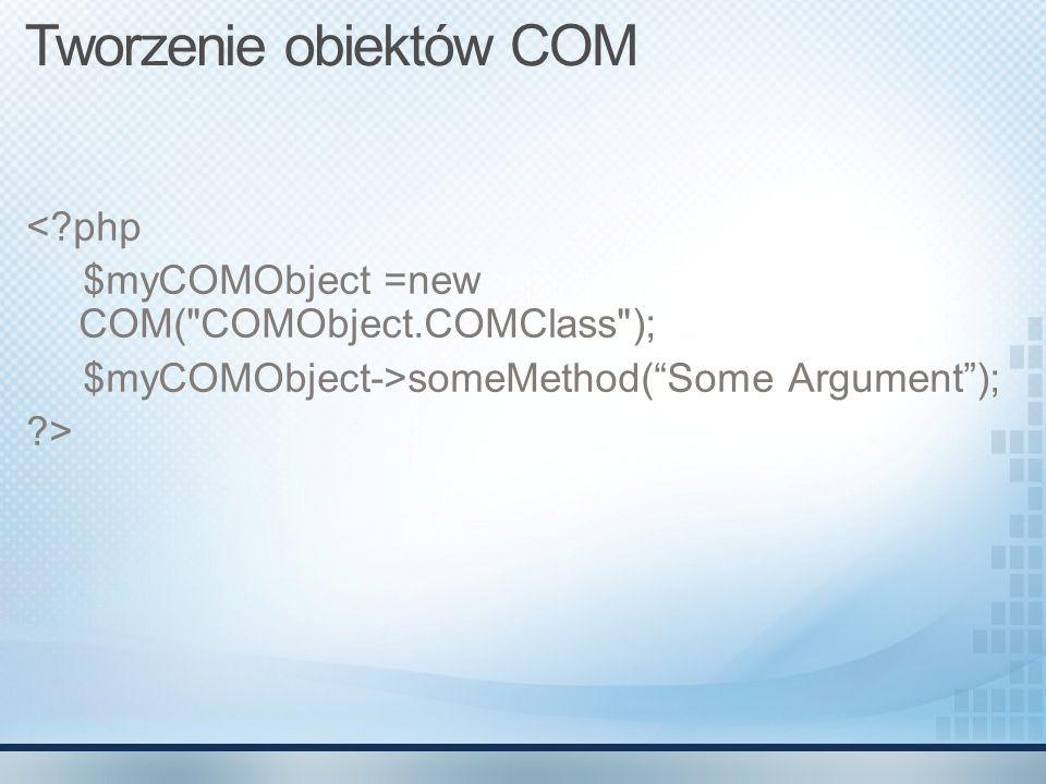 Tworzenie obiektów COM