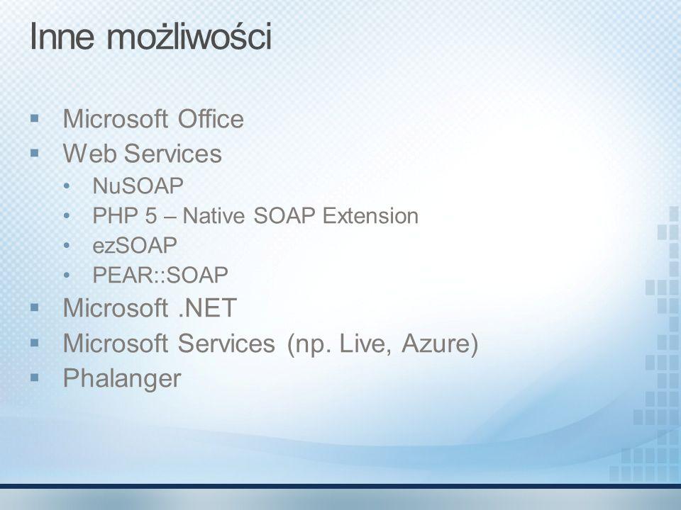 Inne możliwości Microsoft Office Web Services Microsoft .NET