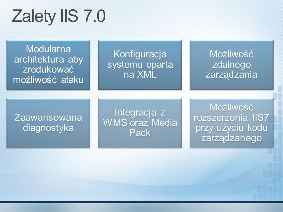 Zalety IIS 7.0 Modularna architektura aby zredukować możliwość ataku