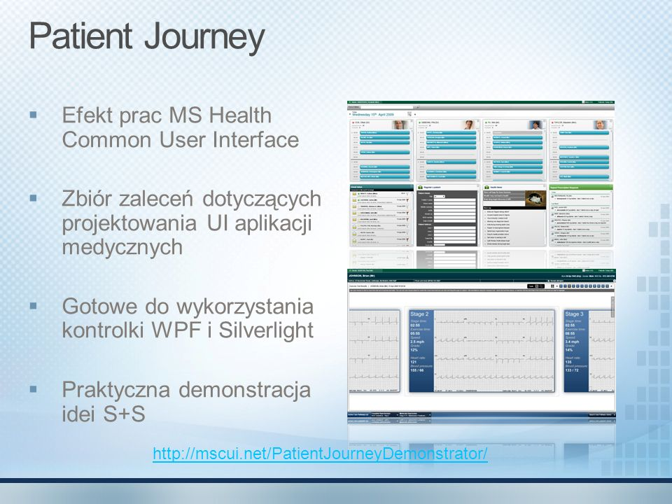Patient Journey Efekt prac MS Health Common User Interface