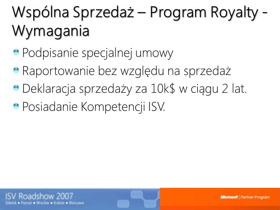 Wspólna Sprzedaż – Program Royalty - Wymagania