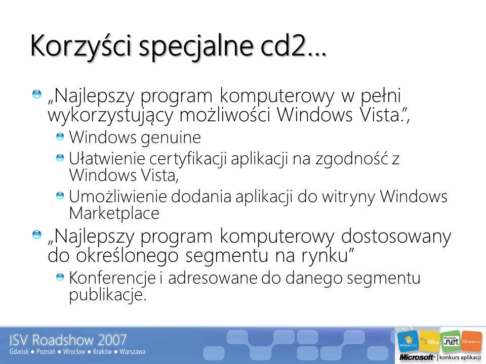 """Korzyści specjalne cd2... """"Najlepszy program komputerowy w pełni wykorzystujący możliwości Windows Vista. ,"""