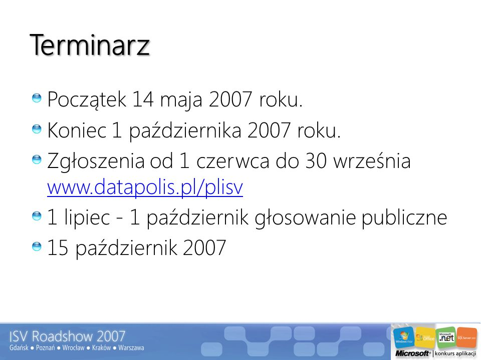 Terminarz Początek 14 maja 2007 roku. Koniec 1 października 2007 roku.