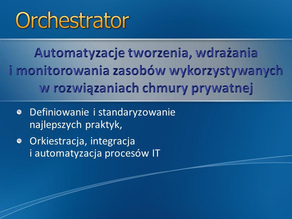 Orchestrator Automatyzacje tworzenia, wdrażania i monitorowania zasobów wykorzystywanych w rozwiązaniach chmury prywatnej.
