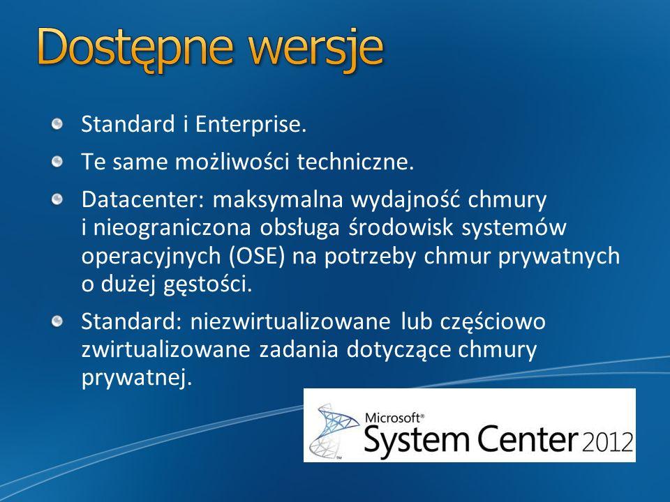 Dostępne wersje Standard i Enterprise. Te same możliwości techniczne.