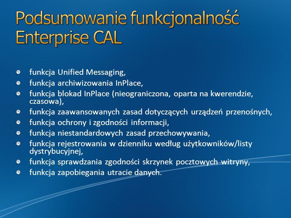 Podsumowanie funkcjonalność Enterprise CAL