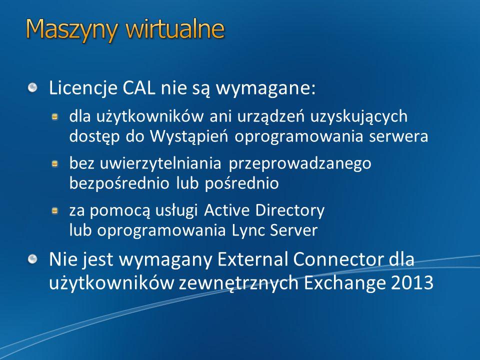 Maszyny wirtualne Licencje CAL nie są wymagane: