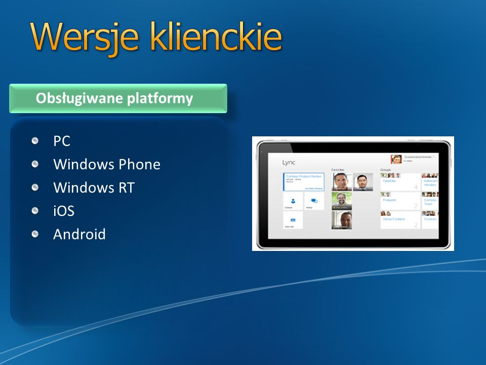 Wersje klienckie Obsługiwane platformy PC Windows Phone Windows RT iOS