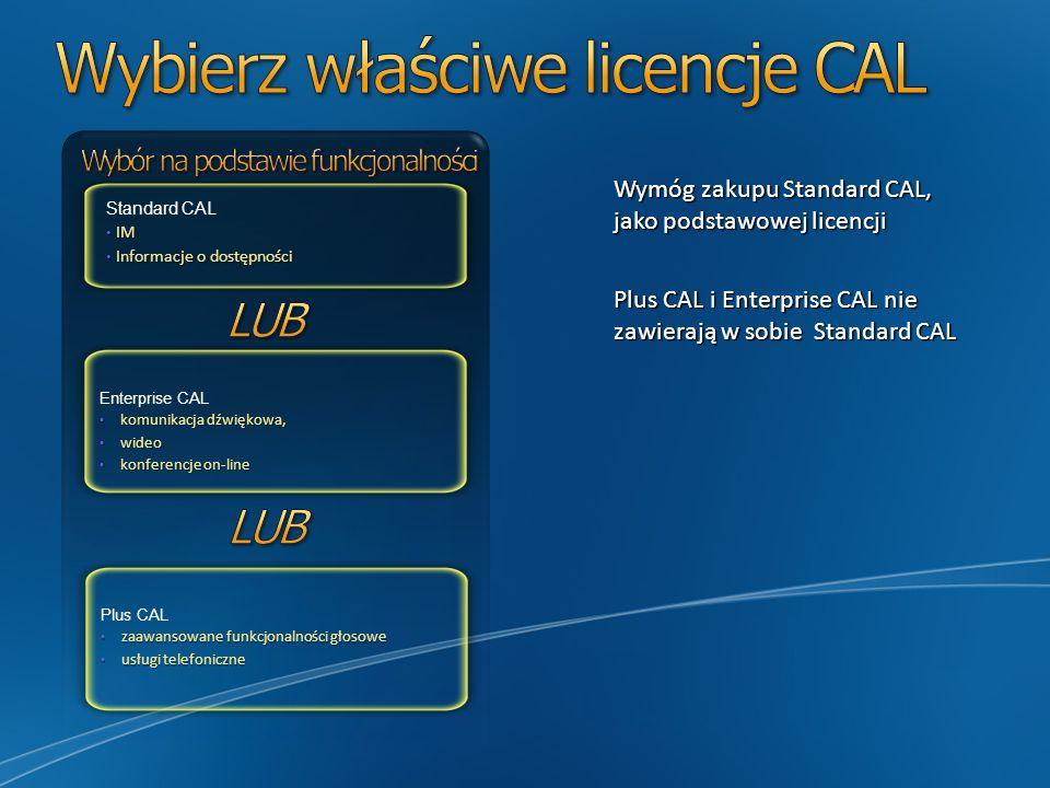 Wybierz właściwe licencje CAL