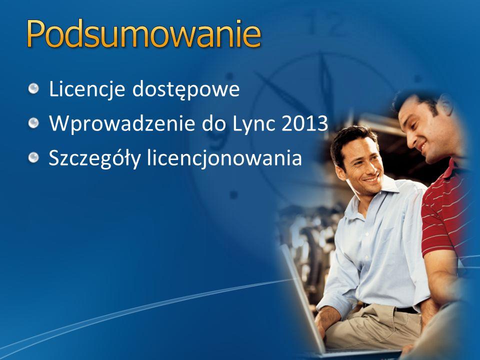 Podsumowanie Licencje dostępowe Wprowadzenie do Lync 2013