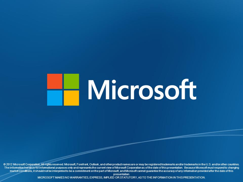 © 2012 Microsoft Corporation. All rights reserved