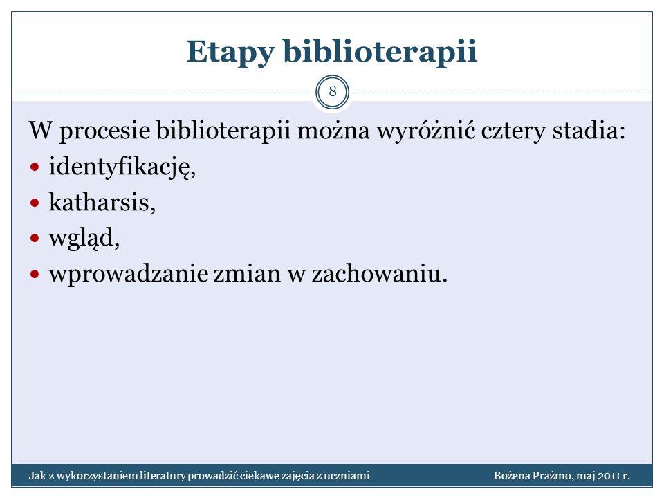 Etapy biblioterapii W procesie biblioterapii można wyróżnić cztery stadia: identyfikację, katharsis,