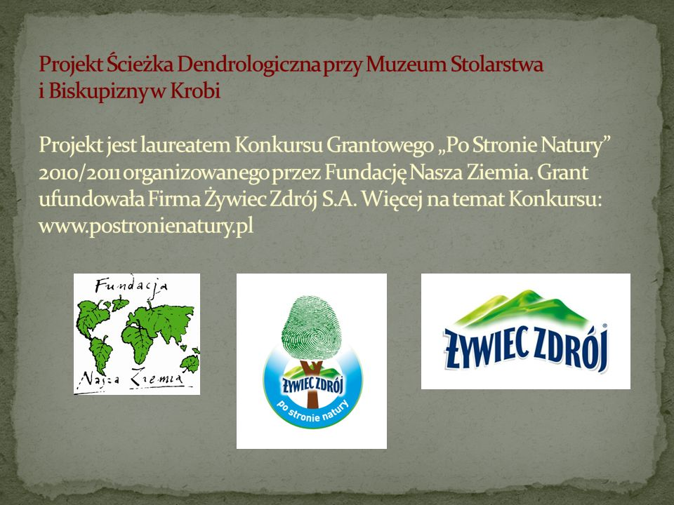 """Projekt Ścieżka Dendrologiczna przy Muzeum Stolarstwa i Biskupizny w Krobi Projekt jest laureatem Konkursu Grantowego """"Po Stronie Natury 2010/2011 organizowanego przez Fundację Nasza Ziemia."""