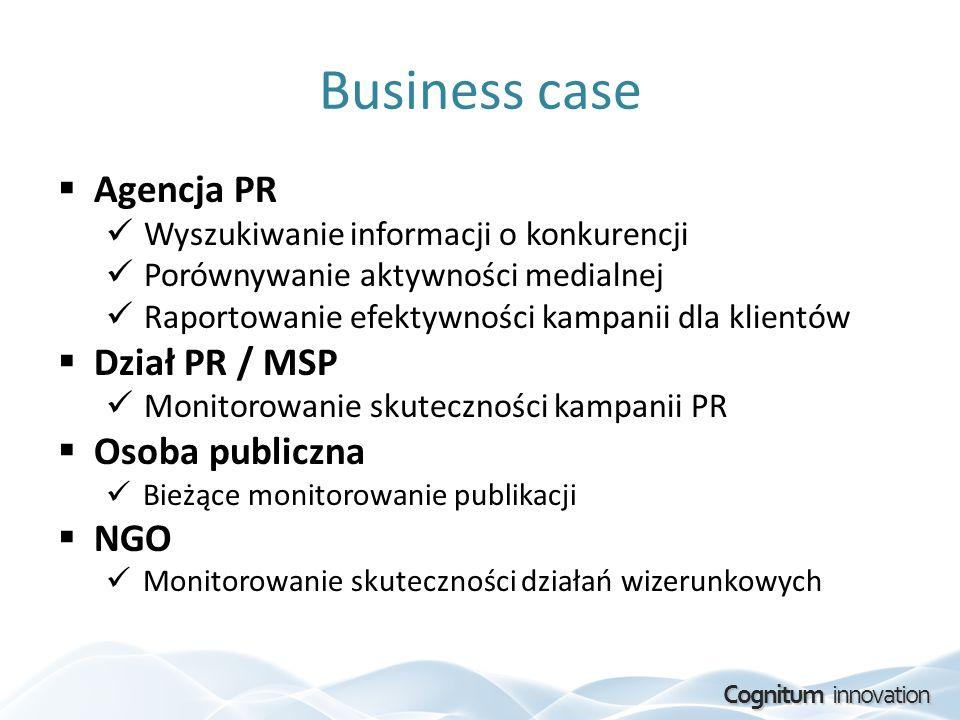 Business case Agencja PR Dział PR / MSP Osoba publiczna NGO