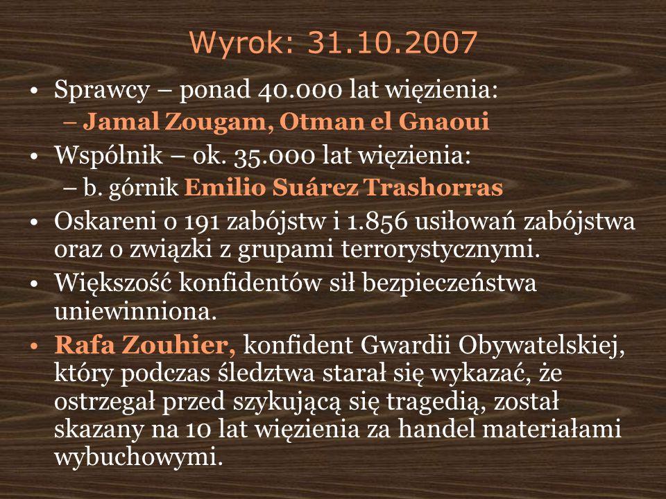 Wyrok: 31.10.2007 Sprawcy – ponad 40.000 lat więzienia: