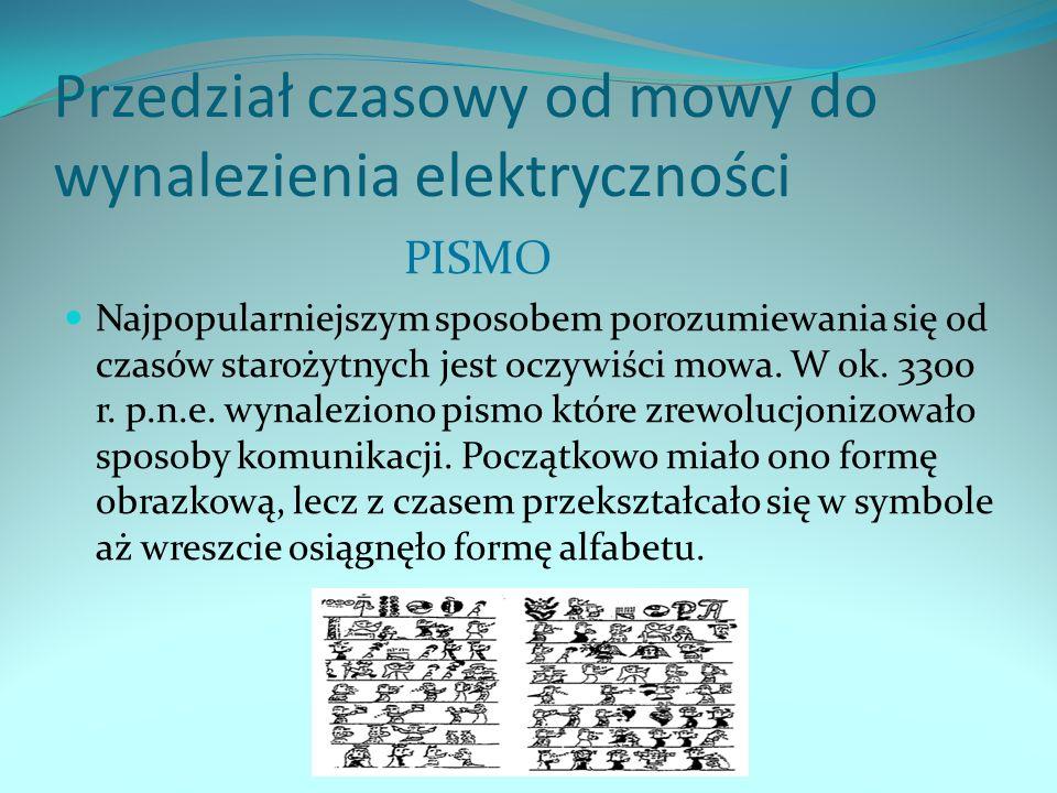 Przedział czasowy od mowy do wynalezienia elektryczności