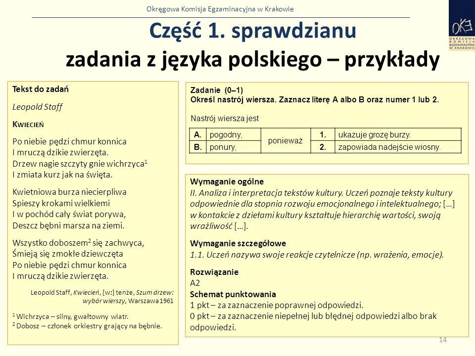 Część 1. sprawdzianu zadania z języka polskiego – przykłady