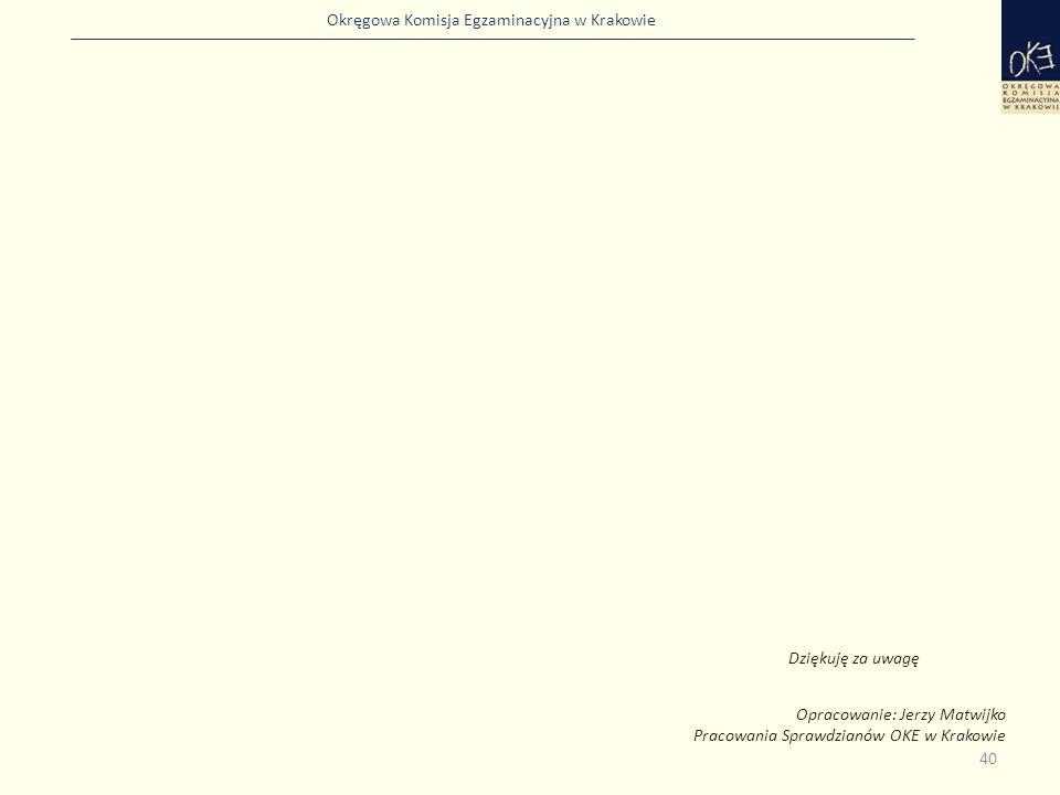 Dziękuję za uwagę Opracowanie: Jerzy Matwijko Pracowania Sprawdzianów OKE w Krakowie