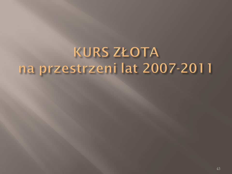 KURS ZŁOTA na przestrzeni lat 2007-2011