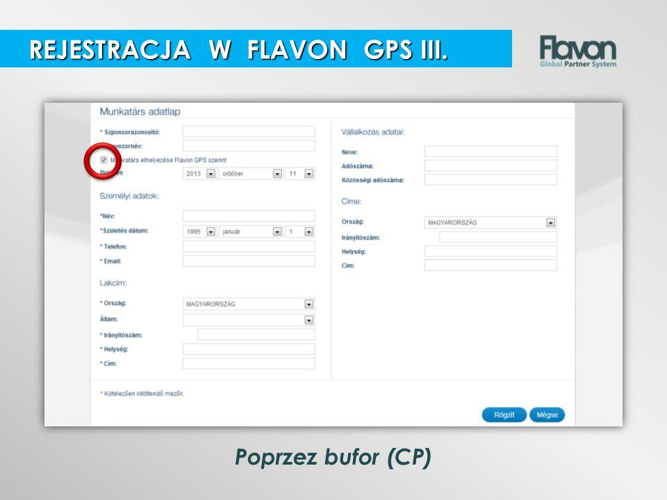 REJESTRACJA W FLAVON GPS III.