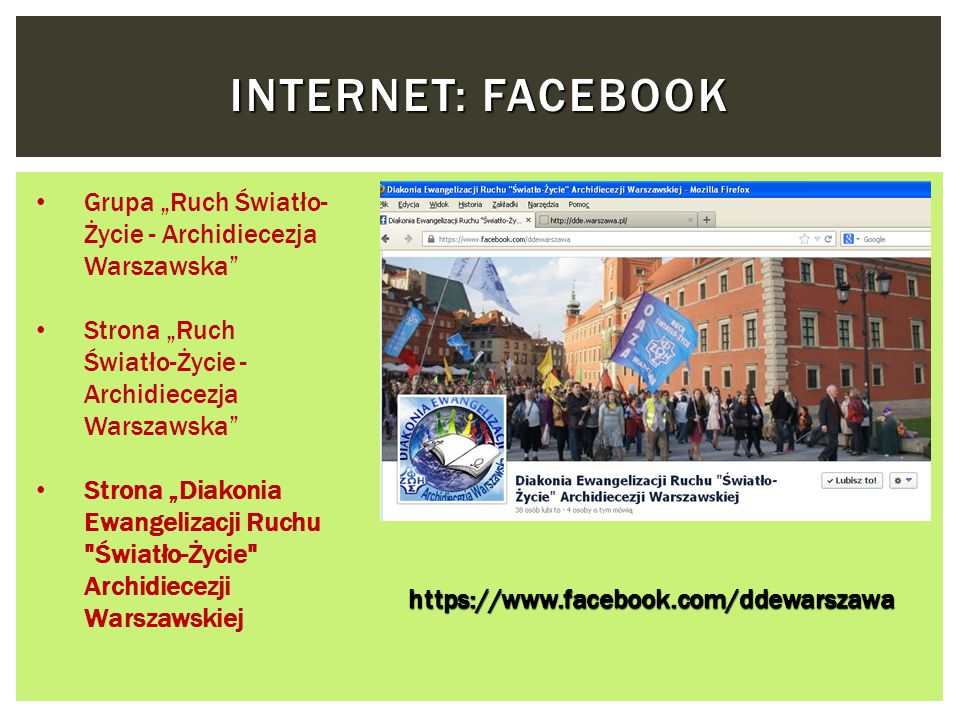 """Internet: FaceBook Grupa """"Ruch Światło-Życie - Archidiecezja Warszawska Strona """"Ruch Światło-Życie - Archidiecezja Warszawska"""