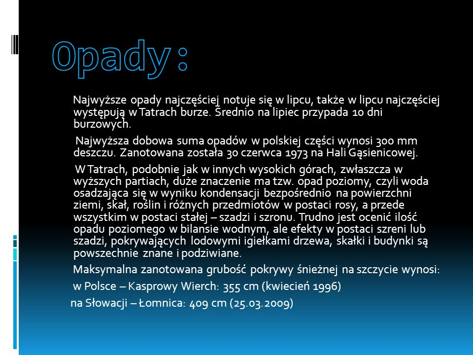Opady: