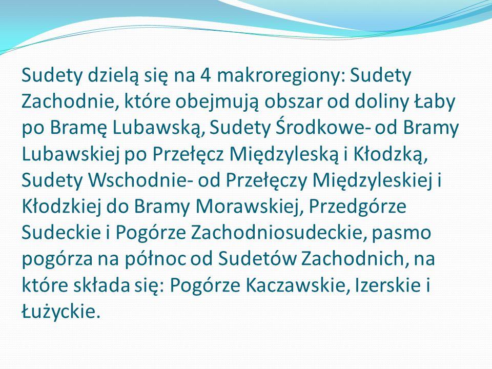 Sudety dzielą się na 4 makroregiony: Sudety Zachodnie, które obejmują obszar od doliny Łaby po Bramę Lubawską, Sudety Środkowe- od Bramy Lubawskiej po Przełęcz Międzyleską i Kłodzką, Sudety Wschodnie- od Przełęczy Międzyleskiej i Kłodzkiej do Bramy Morawskiej, Przedgórze Sudeckie i Pogórze Zachodniosudeckie, pasmo pogórza na północ od Sudetów Zachodnich, na które składa się: Pogórze Kaczawskie, Izerskie i Łużyckie.