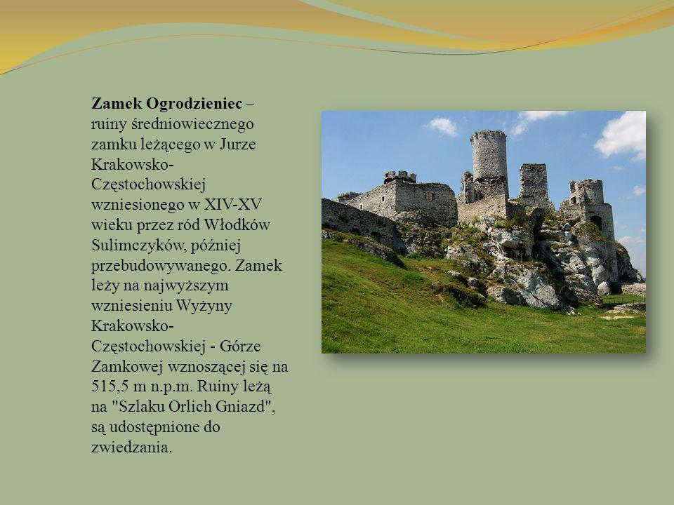 Zamek Ogrodzieniec – ruiny średniowiecznego zamku leżącego w Jurze Krakowsko-Częstochowskiej wzniesionego w XIV-XV wieku przez ród Włodków Sulimczyków, później przebudowywanego.