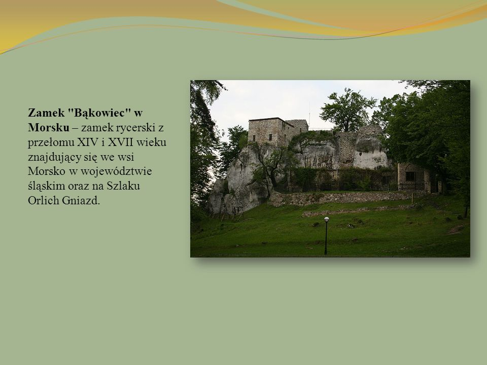Zamek Bąkowiec w Morsku – zamek rycerski z przełomu XIV i XVII wieku znajdujący się we wsi Morsko w województwie śląskim oraz na Szlaku Orlich Gniazd.
