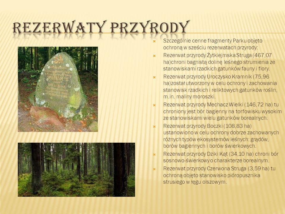 Rezerwaty przyrody Szczególnie cenne fragmenty Parku objęto ochroną w sześciu rezerwatach przyrody: