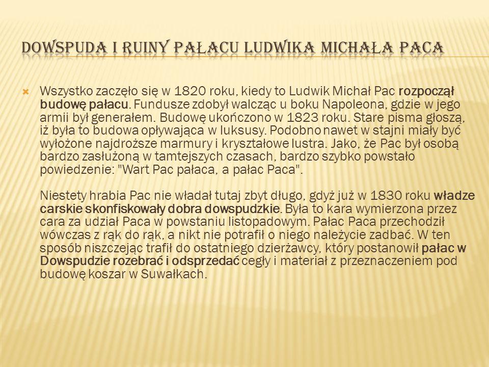 Dowspuda i Ruiny pałacu Ludwika Michała Paca