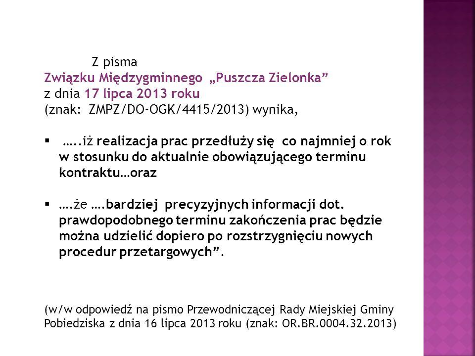 """Związku Międzygminnego """"Puszcza Zielonka z dnia 17 lipca 2013 roku"""
