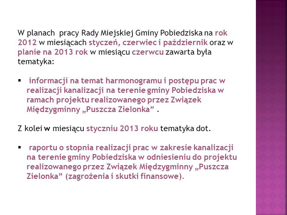 W planach pracy Rady Miejskiej Gminy Pobiedziska na rok 2012 w miesiącach styczeń, czerwiec i październik oraz w planie na 2013 rok w miesiącu czerwcu zawarta była tematyka: