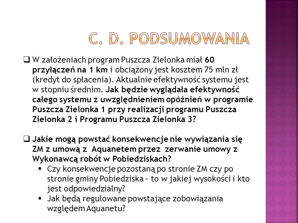 c. D. podsumowania