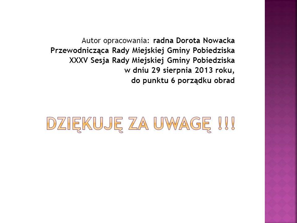 Dziękuję za uwagę !!! Autor opracowania: radna Dorota Nowacka
