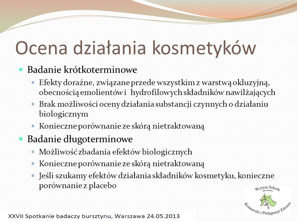 Ocena działania kosmetyków