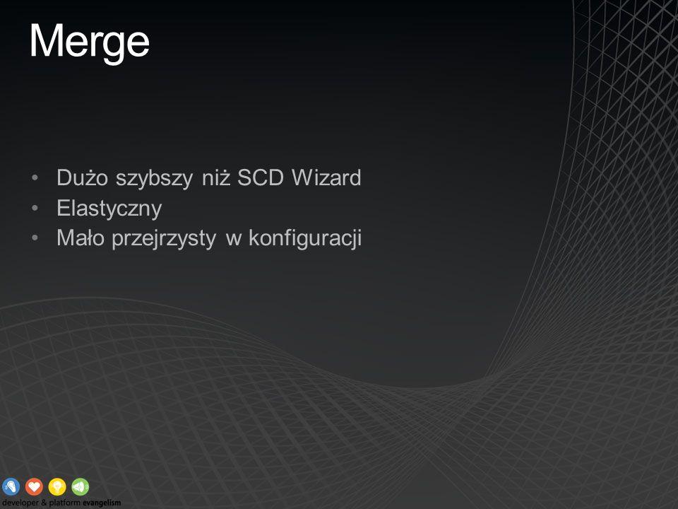 Merge Dużo szybszy niż SCD Wizard Elastyczny