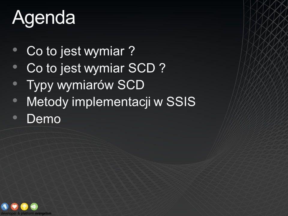 Agenda Co to jest wymiar Co to jest wymiar SCD Typy wymiarów SCD