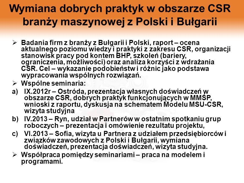 Wymiana dobrych praktyk w obszarze CSR branży maszynowej z Polski i Bułgarii