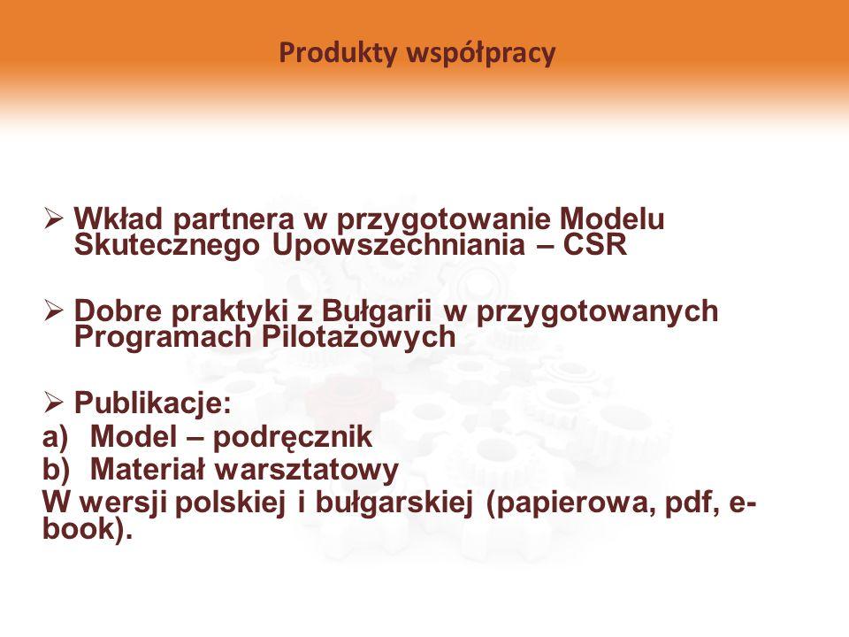 Produkty współpracy Wkład partnera w przygotowanie Modelu Skutecznego Upowszechniania – CSR.