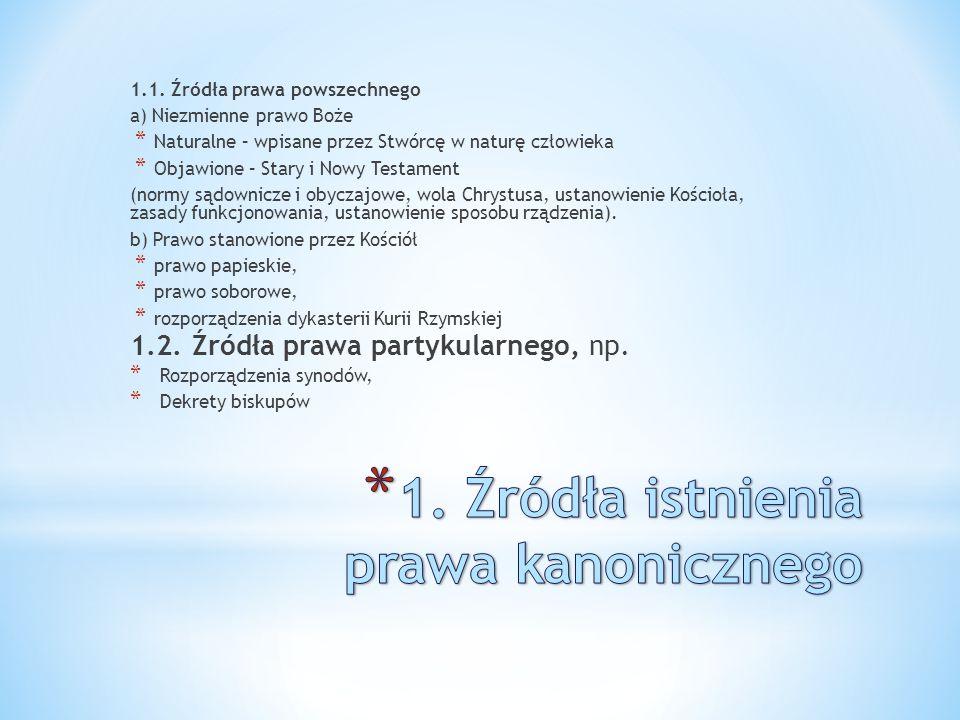 1. Źródła istnienia prawa kanonicznego