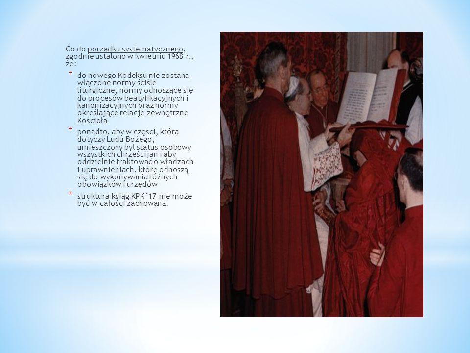 Co do porządku systematycznego, zgodnie ustalono w kwietniu 1968 r