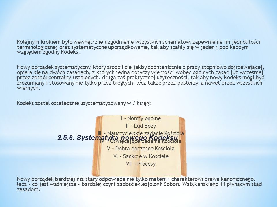 2.5.6. Systematyka nowego Kodeksu