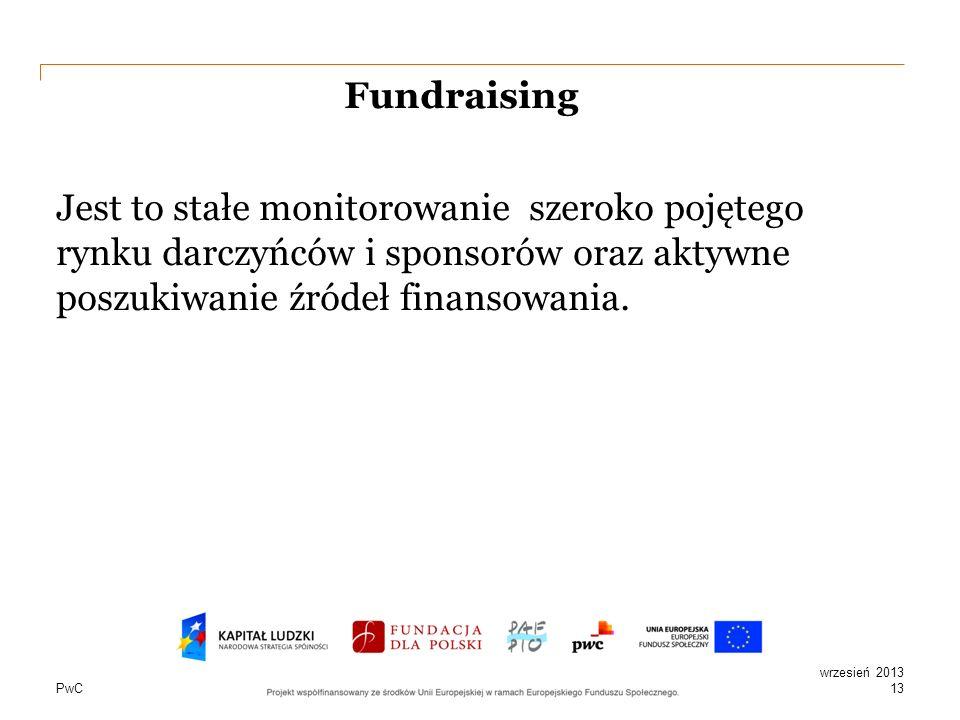 Fundraising Jest to stałe monitorowanie szeroko pojętego rynku darczyńców i sponsorów oraz aktywne poszukiwanie źródeł finansowania.
