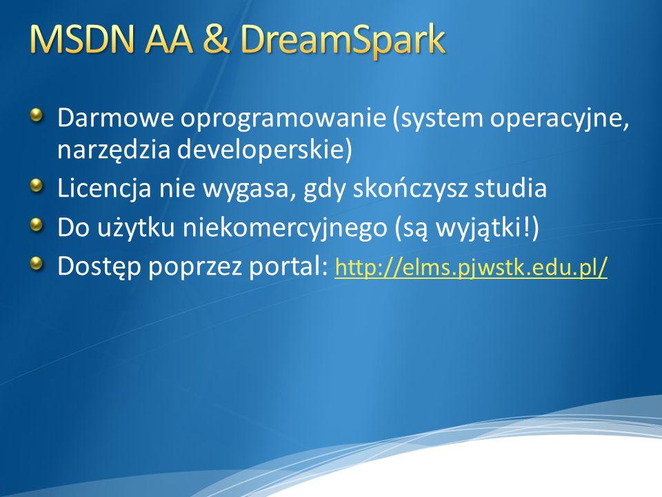 MSDN AA & DreamSpark Darmowe oprogramowanie (system operacyjne, narzędzia developerskie) Licencja nie wygasa, gdy skończysz studia.